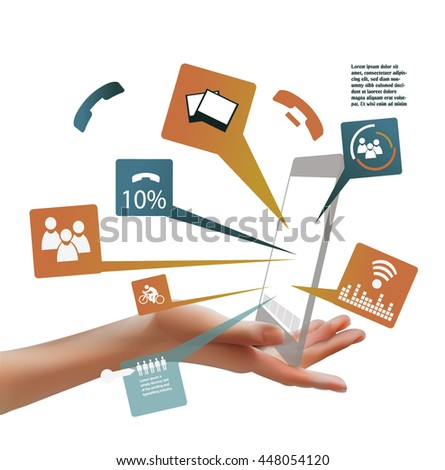 Every social connection in one hand - stock vector