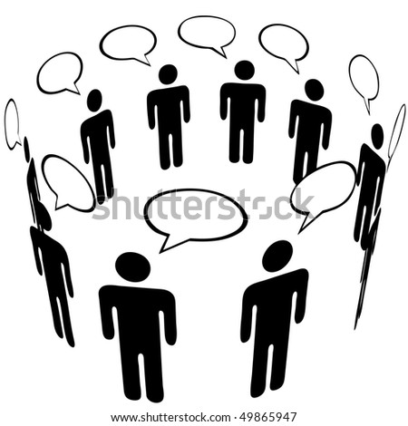 Everybody talks to everyone in a Social Media Network Ring Group speech bubble Talk. - stock vector