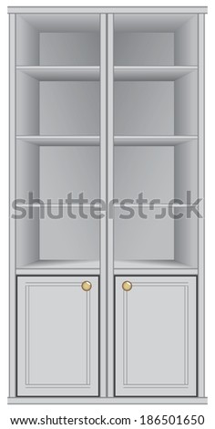 Everyday cabinet with shelves for storage. Vector illustration. - stock vector