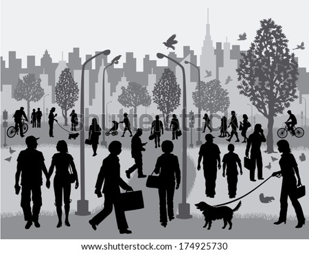 Everyday People in a City Park Silhouettes of people walking in a city park with the city in the background. - stock vector