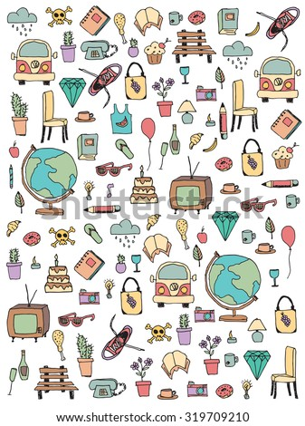 Everyday things, handdrawn, vector illustration - stock vector