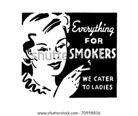 Everything For Smokers - Retro Ad Art Banner - stock vector