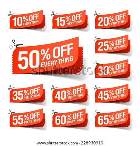 Everything is on Sale coupons. Vector. - stock vector