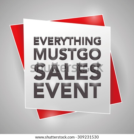 EVERYTHING MUST GO SALES EVENT, poster design element - stock vector