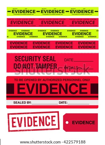 Evidence tapes, stamp, stickers and label - stock vector