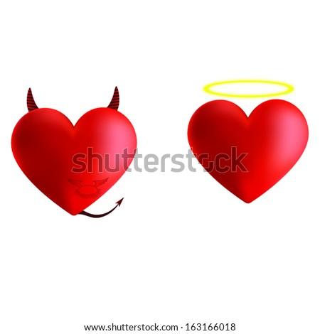 Evil and angel heart vector illustrator - stock vector