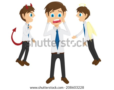 Evil And Angel With Shock Businessman - stock vector