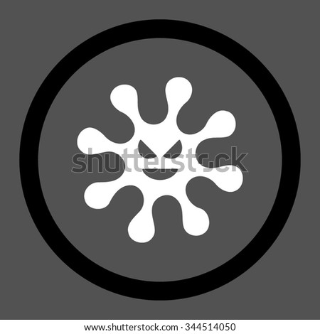 Evil Bacteria vector icon. Style is bicolor flat rounded symbol, black and white colors, rounded angles, gray background. - stock vector