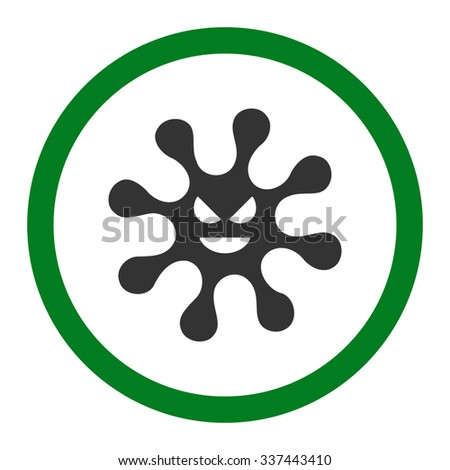 Evil Bacteria vector icon. Style is bicolor flat rounded symbol, green and gray colors, rounded angles, white background. - stock vector