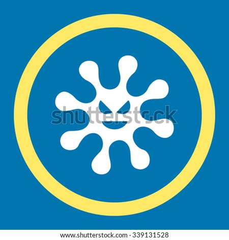 Evil Bacteria vector icon. Style is bicolor flat rounded symbol, yellow and white colors, rounded angles, blue background. - stock vector