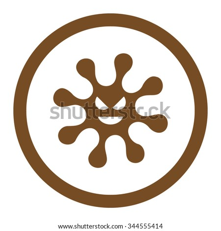 Evil Bacteria vector icon. Style is flat rounded symbol, brown color, rounded angles, white background. - stock vector