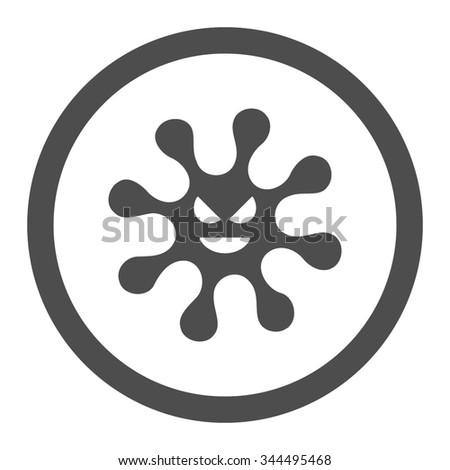 Evil Bacteria vector icon. Style is flat rounded symbol, gray color, rounded angles, white background. - stock vector