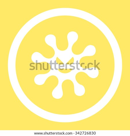 Evil Bacteria vector icon. Style is flat rounded symbol, white color, rounded angles, yellow background. - stock vector