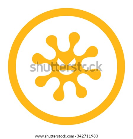 Evil Bacteria vector icon. Style is flat rounded symbol, yellow color, rounded angles, white background. - stock vector