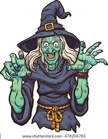 Evil cartoon witch. Vector clip art illustration with simple gradients. All in a single layer.