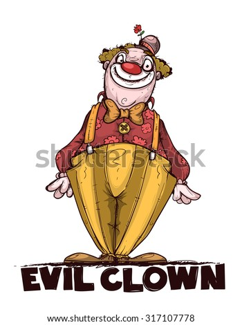 Evil clown. Colored and isolated