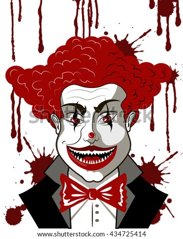 evil clown  in blood - stock vector