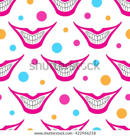 Evil clown or playing card joker smile with colorful circles seamless vector pattern. Creepy, scary smiles with painted lips and bared teeth texture. Fool's Day or Halloween funny background. - stock vector