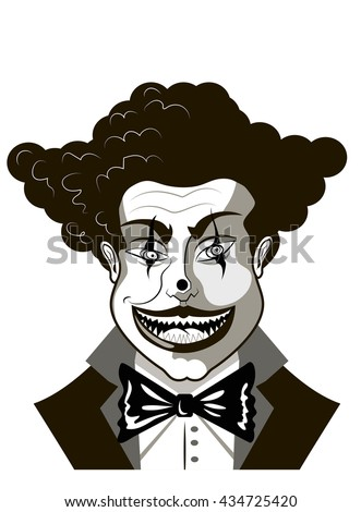 evil clown sketch Isolated on white - stock vector