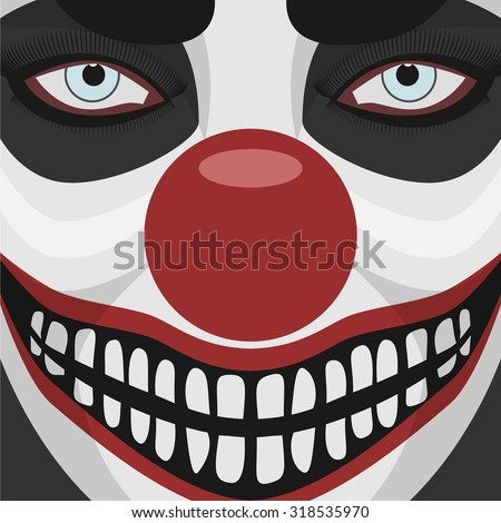 Evil Clown smiling Face with red Nose. Spooky Character Halloween Illustration  - stock vector