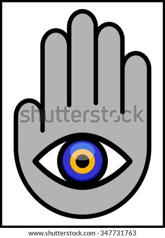 Evil Eye Hand Vector Illustration Abstract Stock Photo Photo