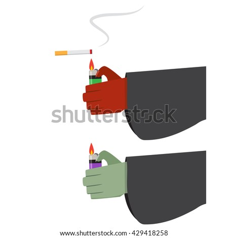 Evil hand with lighter and cigarette with smoke - stock vector