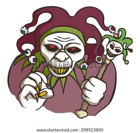 Evil jester - stock vector