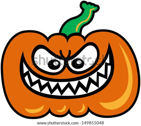 Evil orange pumpkin staring at you and showing his sharpen teeth in a very mischievous attitude