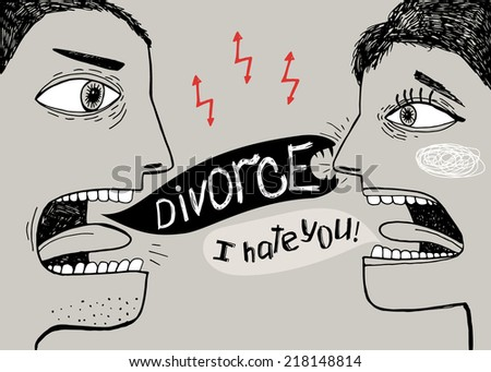 Evil people shouting to each other - stock vector
