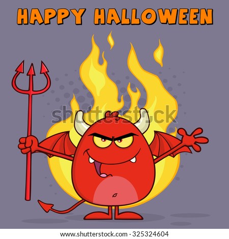 Evil Red Devil Cartoon Character Holding A Pitchfork Over Flames. Vector Illustration Greeting Card - stock vector