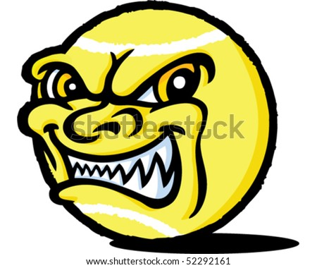 Evil Tennis Ball - stock vector