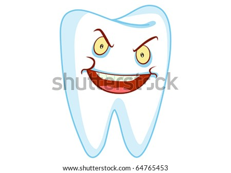 Evil Tooth Cartoon Character Illustration in Vector - stock vector