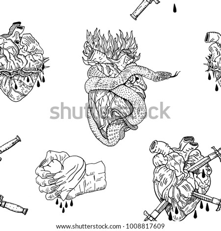 Evil Valentines Day Black And White Seamless Pattern Bleeding Pierced Squeezed Hearts With