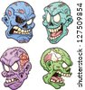 Evil zombie heads. Vector clip art illustration with simple gradients. Each in a separate layer for easy editing. - stock vector