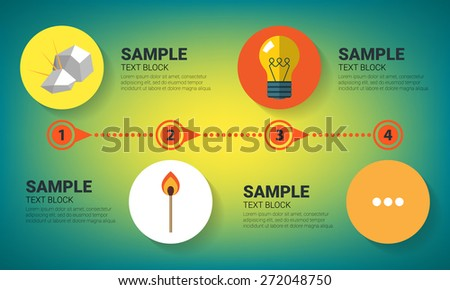 Evolution concept. Infographics with flat images of flint, match and bulb lamp - stock vector