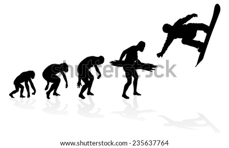 Evolution of a Snowboarder. Great illustration of depicting the evolution of a male from ape to man to Snowboarder in silhouette. - stock vector