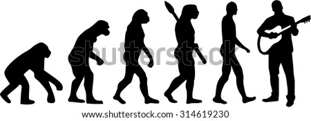 Evolution of acoustic guitar player - stock vector
