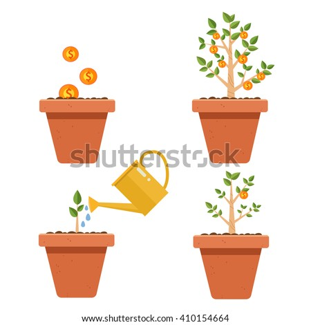 Evolution of money tree.Financial growth concept,Money growth, making money, investment, profit, financial management concept  - stock vector