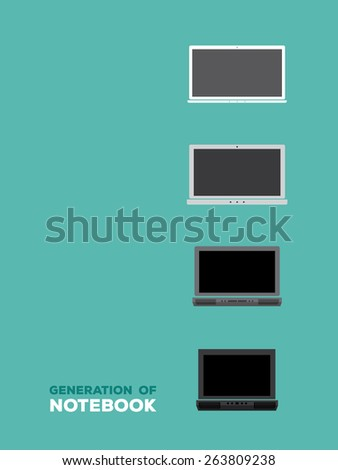 evolution of notebook, illustration vector - stock vector