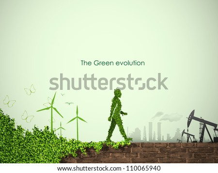 evolution of the concept of greening of the world - stock vector