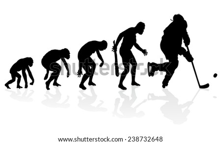 Evolution of the Ice Hockey Player. Great illustration of depicting the evolution of a male from ape to man to Ice Hockey Player in silhouette.