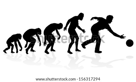 Evolution of the Ten Pin Bowler. Fantastic illustration depicting the evolution of a male from ape to man to Ten Pin Bowler in silhouette. - stock vector