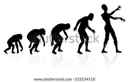 Evolution of the Zombie. Great illustration depicting the evolution of a male from ape to man to Zombie in silhouette. - stock vector