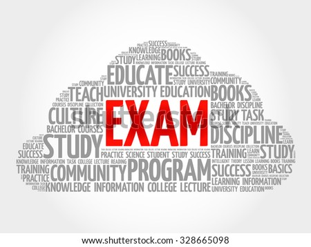 EXAM. Word education collage - stock vector