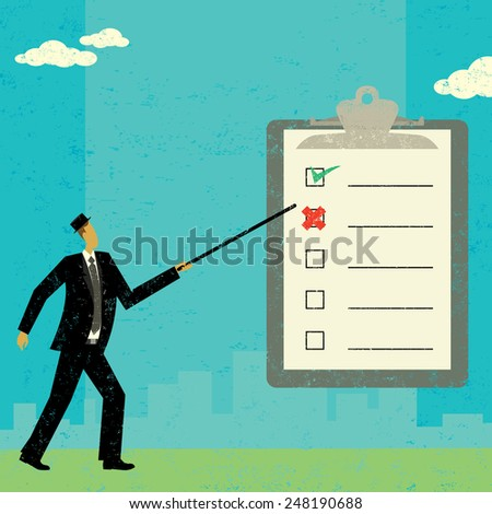 Examining a checklist A businessman examining a checklist on a clipboard over an abstract skyline background. The checkmark and X is ungrouped from the clipboard so they can be moved or copied.  - stock vector