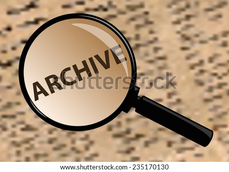 Examining archive through a magnifying glass. - stock vector