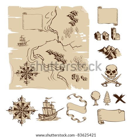 Example map and design elements to make your own fantasy or treasure maps. Includes mountains, buildings, trees, compass etc. - stock vector