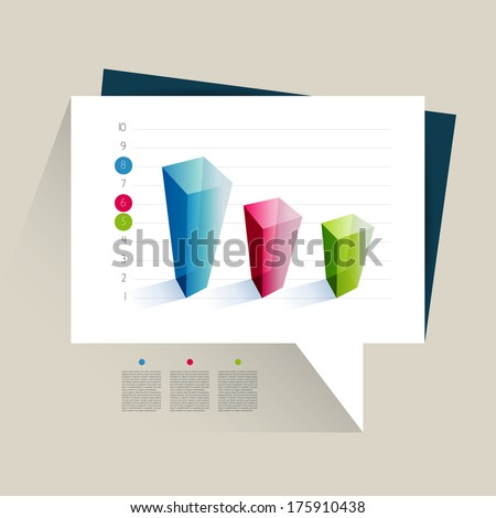 Example of business 3d design graph. Infographics chart.  - stock vector