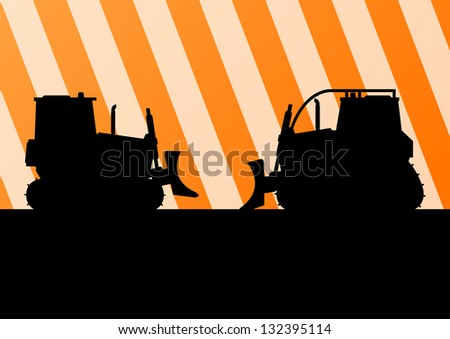 Excavator and bulldozer detailed tractor silhouettes in construction site background illustration vector