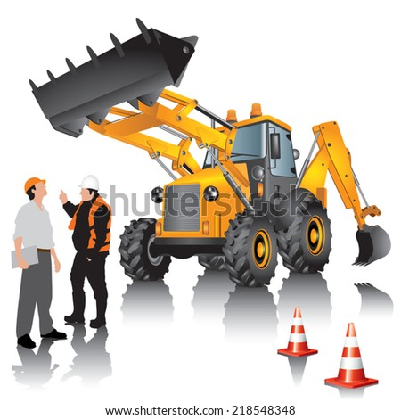 Excavator and workers isolated on white background. Vector illustration. - stock vector